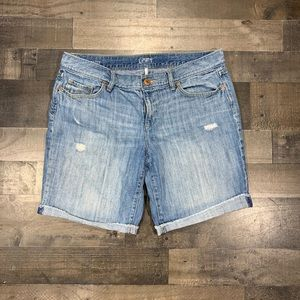 {LOFT} Distressed Midi Jean Shorts Sz 31/12